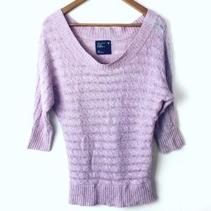 American Eagle Off Shoulder Purple Ribbed Sweater